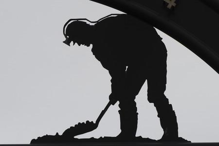 Mijnwerkerstandbeeld in Nieuw Waterford, Kaap Bretons Eiland, Nova Scotia, Canada Stockfoto