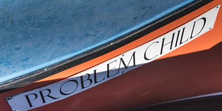 Close-up des Namens auf Fischerboot, Main-a-Dieu, Kap-Breton-Insel, Nova Scotia, Kanada