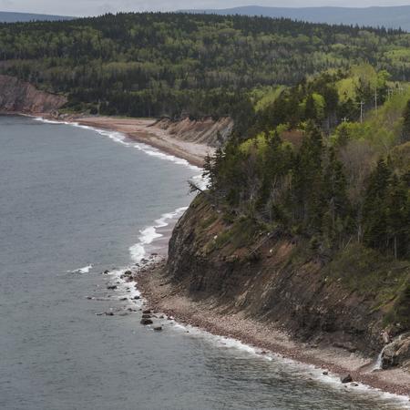 Scenic view of coastline, Ingonish, Cabot Trail, Cape Breton Island, Nova Scotia