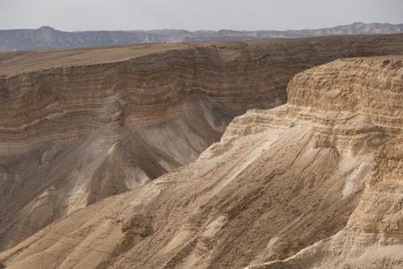Rock formations in a canyon, Masada, Judean Desert, Dead Sea Region, Israel