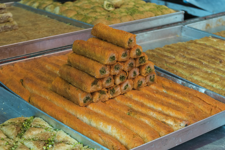 Traditional Israeli cuisines for sale at store, Carmel Market, Tel Aviv, Israel
