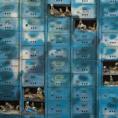 Statues in mailboxes, Ein Hod Artists Village, Ein Hod, Haifa District, Israel