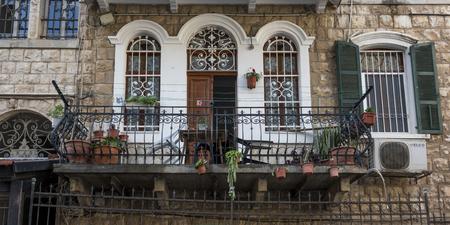 Potted plant at balcony of house, Haifa, Haifa District, Israel