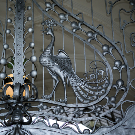 Close-up of metallic ornate gate, Budapest, Hungary Imagens - 100857543