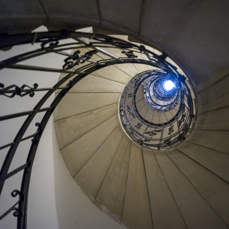 Low angle view of spiral staircase in St. Stephen's Basilica, Budapest, Hungary