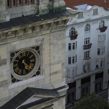 Clock at St. Stephen's Basilica, Budapest, Hungary