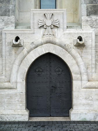 Closed door of church, Buda's Castle District, Budapest, Hungary