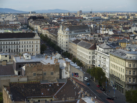 View of city from St. Stephen's Basilica, Budapest, Hungary Redactioneel