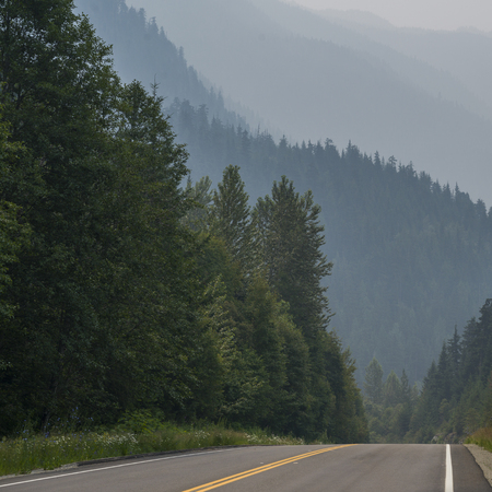 Trees along road with mountain range in the background, British Columbia, Canada Stock fotó