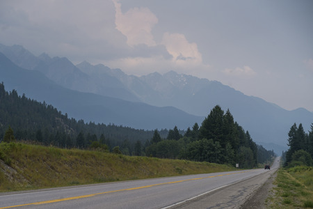Road passing through countryside, Spillimacheen, British Columbia, Canada