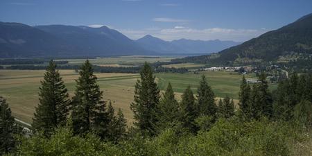Scenic view of field, Creston, British Columbia, Canada Stock Photo