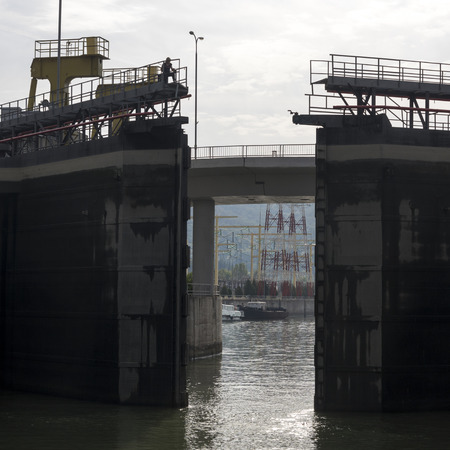 Dam on the Danube River, Iron Gate I Hydroelectric Power Station, Danube River, Drobeta-Turnu Severin, Mehedinti County, Oltenia, Romania