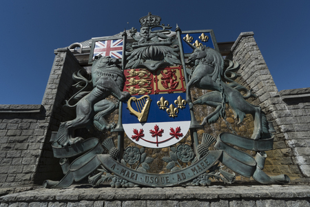 Low angle view of coat of arms, Victoria, Vancouver Island, British Columbia, Canada Editorial