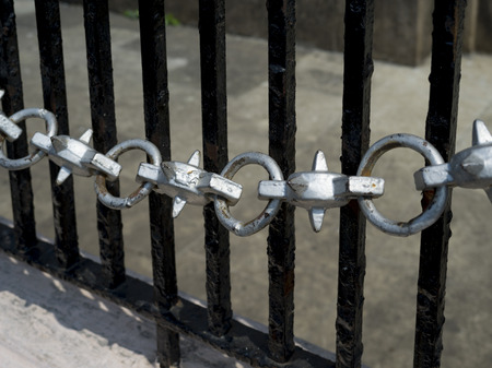 Metal chain and railing at Gateway of India, Colaba, Mumbai, Maharashtra, India Stock Photo