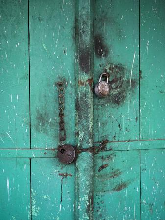 Close-up of padlocked door, Narendranagar, Tehri Garhwal, Uttarakhand, India