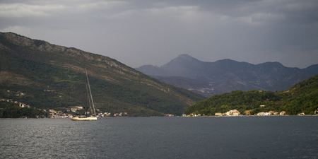 Mountains seen from Bay of Kotor, Montenegro Stock Photo