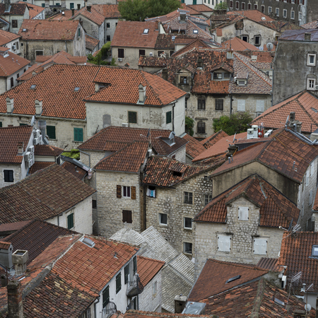 Buildings in a town seen from the path to Kotor Fortress, Kotor, Bay of Kotor, Montenegro