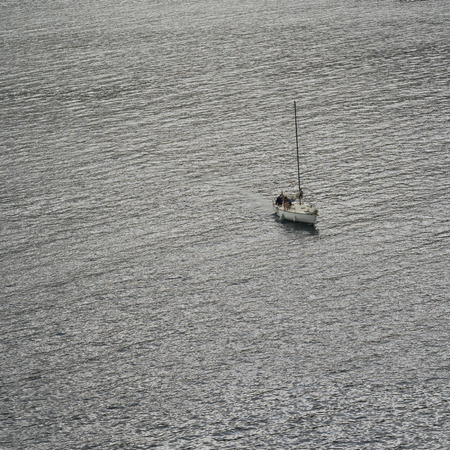 High angle view of sail boat in the sea, Montenegro