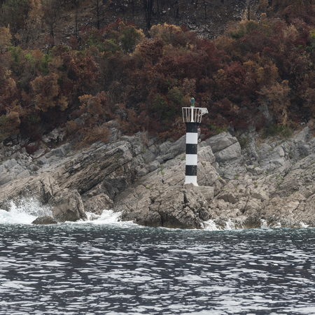 Lighthouse at coast, Erceg Novi, Bay of Kotor, Montenegro
