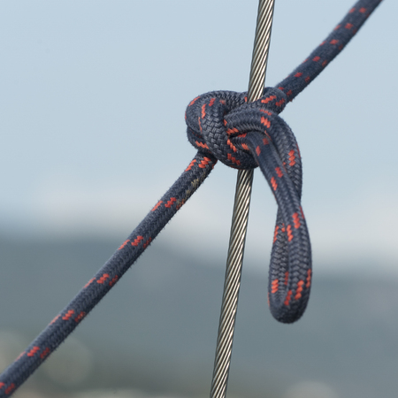 Close-up of rope tied with steel cable, Montenegro 写真素材
