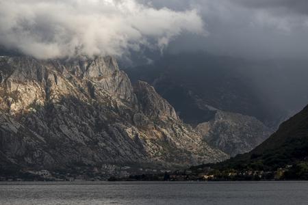 Sunlight falling on mountain, Bay of Kotor, Montenegro