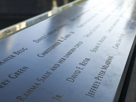 Names of victims of terrorist attack, National September 11 Memorial & Museum, Manhattan, New York City, New York State, USA Editorial