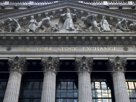Facade of New York Stock Exchange building, Wall Street, Lower Manhattan, New York City, New York State, USA