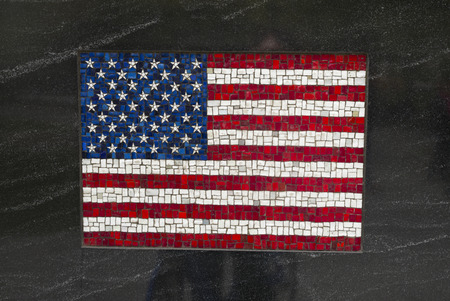 American flag made of mosaic tiles on grey textured background, Korean War Memorial, Battery Park, New York City, New York State, USA
