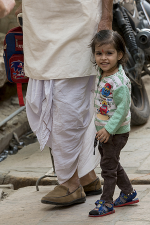 Happy girl with her grandfather, Jaisalmer, Rajasthan, India Editorial