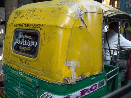 Close-up of auto rickshaw, Kolkata, West Bengal, India Editorial