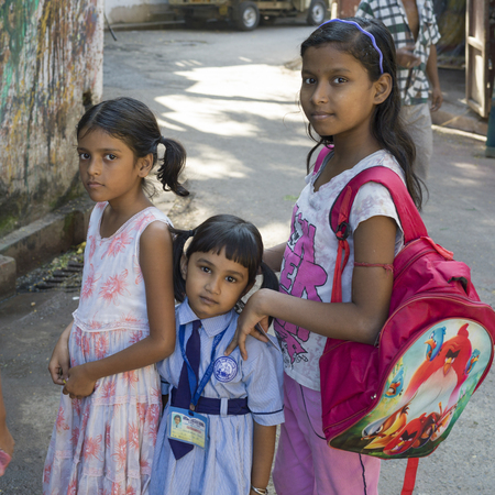 Three girls standing together, Kolkata, West Bengal, India Editorial
