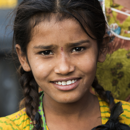 Portrait of a girl smiling, Jaisalmer, Rajasthan, India