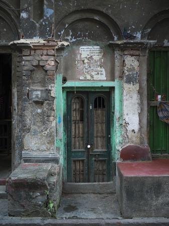 Fa�ade of an old building, Kolkata, West Bengal, India