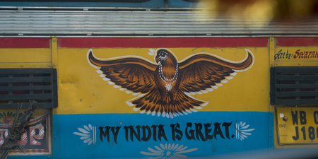 Close-up of bird painted on truck, Kolkata, West Bengal, India