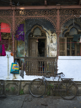 Bicycle in front of an old building, Kolkata, West Bengal, India