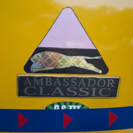 Close-up of a taxi sign, Kolkata, West Bengal, India Editorial