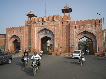 Ajmeri Gate, Jaipur, Rajasthan, India Stock Photo - 120229193