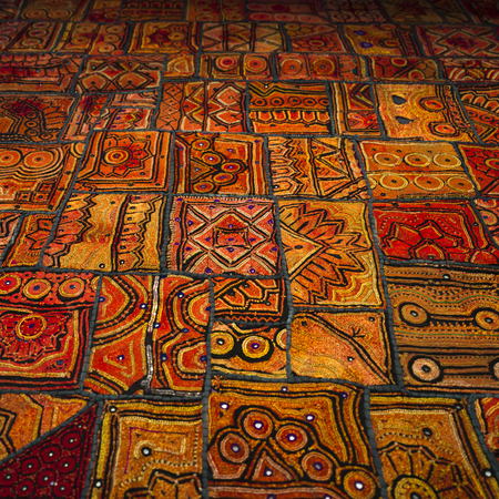 Full frame shot of rugs for sale, Jaisalmer, Rajasthan, India