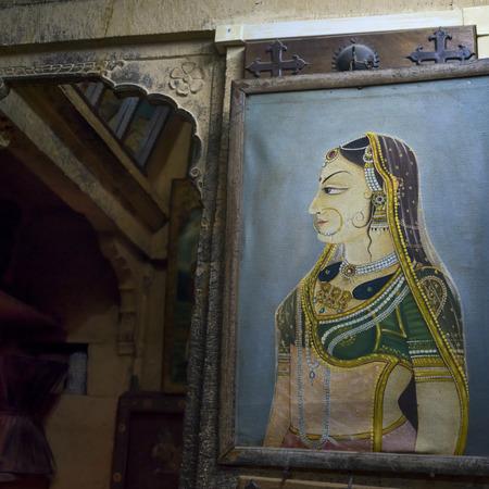 Close-up of traditional Rajasthani painting, Jaisalmer, Rajasthan, India Editorial