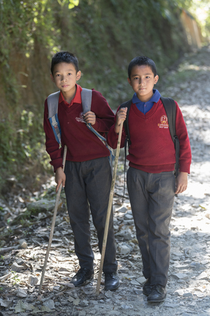 Schoolboys walking on trail, Hatti Dunga, West Sikkim, Sikkim