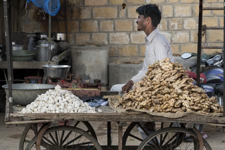 Man selling garlic and ginger, Jaisalmer, Rajasthan, India