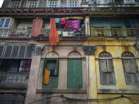Low angle view of old buildings, Kolkata, West Bengal, India Stock Photo