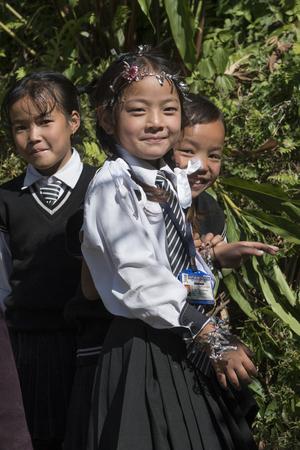 Happy schoolgirls, Yangthang Village, Gyalshing, West Sikkim, Sikkim, India