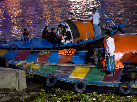 Tourists on boat, Hooghly River, Kolkata, West Bengal, India