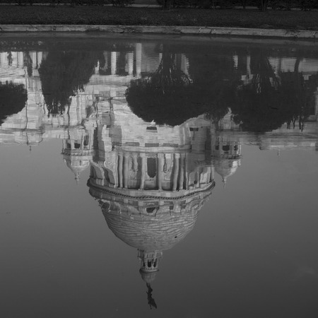Reflection of temple in a pond, Kolkata, West Bengal, India