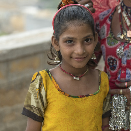 Close-up of a girl smiling, Jaisalmer, Rajasthan, India