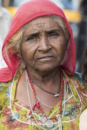 Portrait of elderly woman, Jaisalmer, Rajasthan, India Stock Photo - 120229352