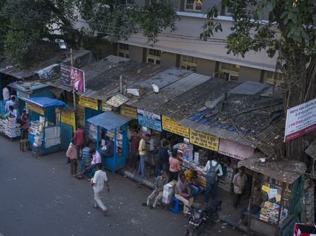 High angle view of stores and street, Indian Coffee House, College Street, Kolkata, West Bengal, India