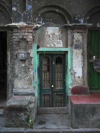 Fa�ade of an old building, Kolkata, West Bengal, India