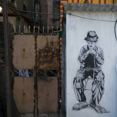 Charlie Chaplin street art, Kolkata, West Bengal, India